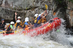 Group of People Whitewater Rafting on the Penobscot River in Maine
