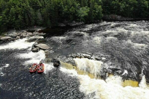 Ariel View of Two Boats on the Penobscot River