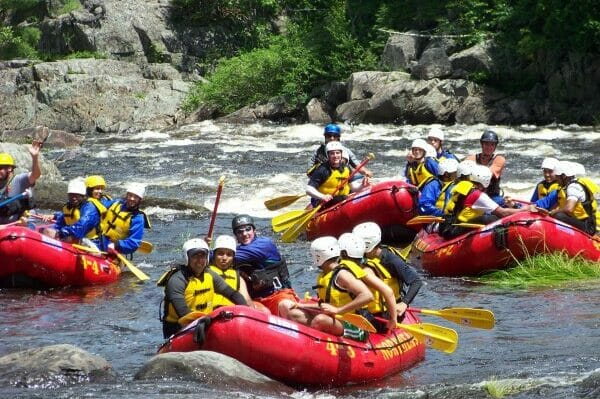 Group of Boats Whitewater Rafting on the Dead River